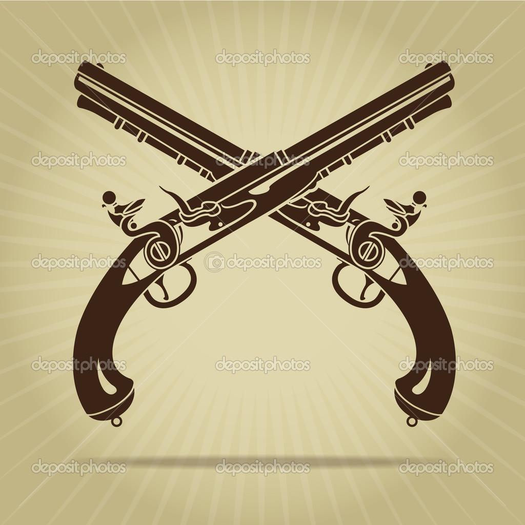 1024x1024 Vintage Crossed Flintlock Pistols Silhouette Stock Vector