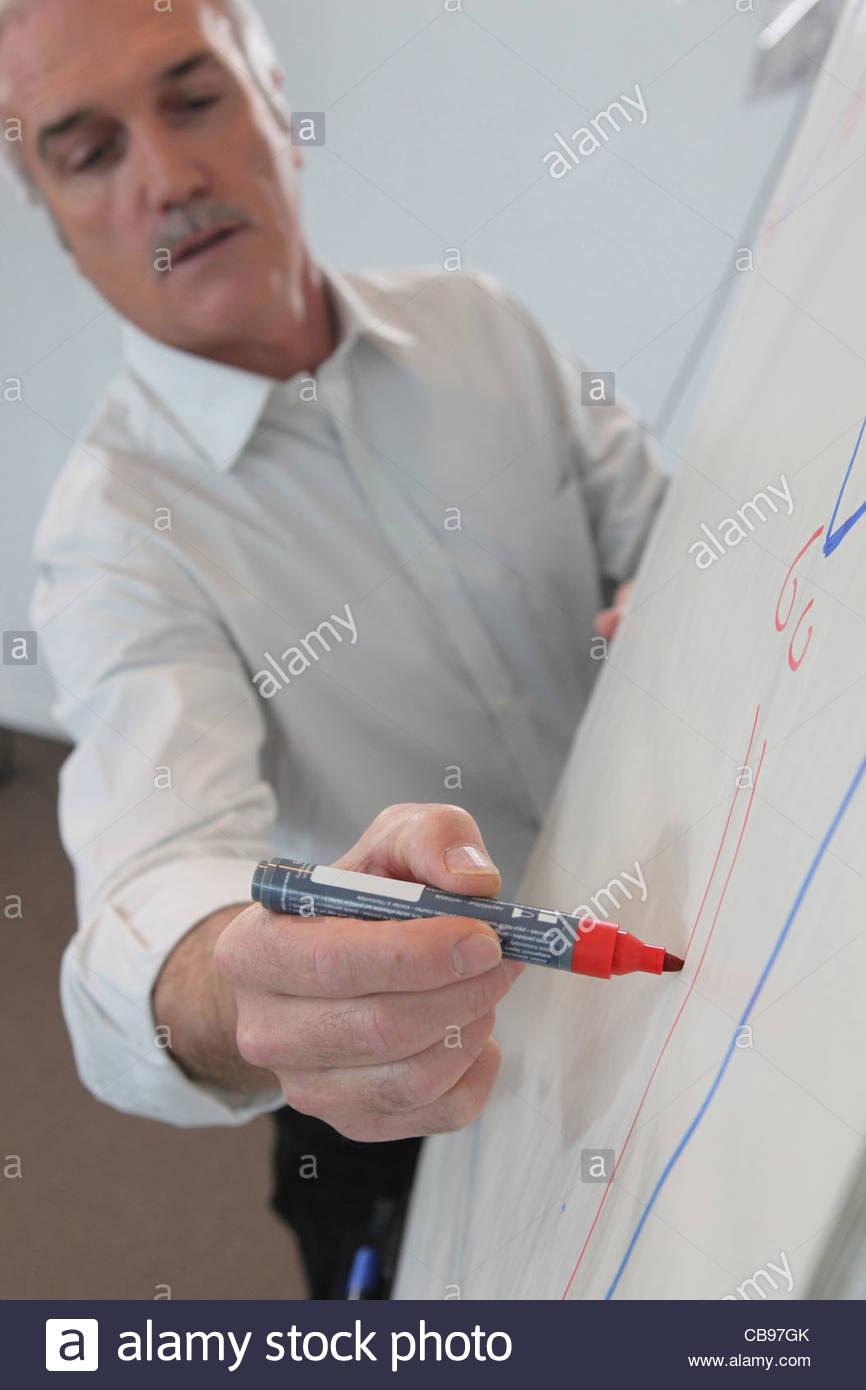 866x1390 Man Drawing On Flip Chart Stock Photo, Royalty Free Image