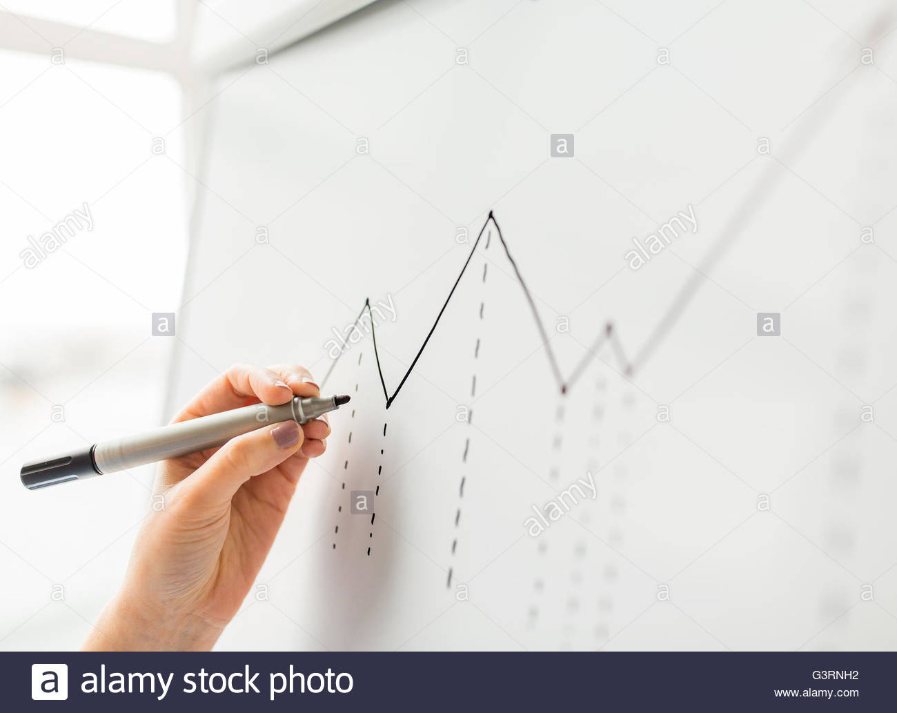 1300x1033 Close Up Of Hand Drawing Graph On Flip Chart Stock Photo, Royalty