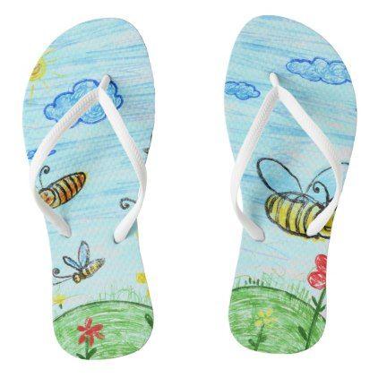 422x422 Blue Green Summer Doodles Flip Flops