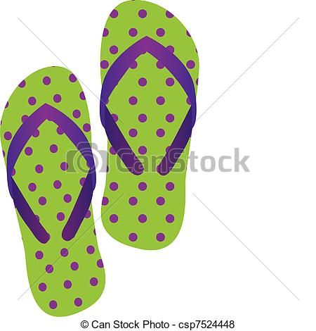 450x470 Cute Flip Flops Isolated Over White Background. Vector Vector