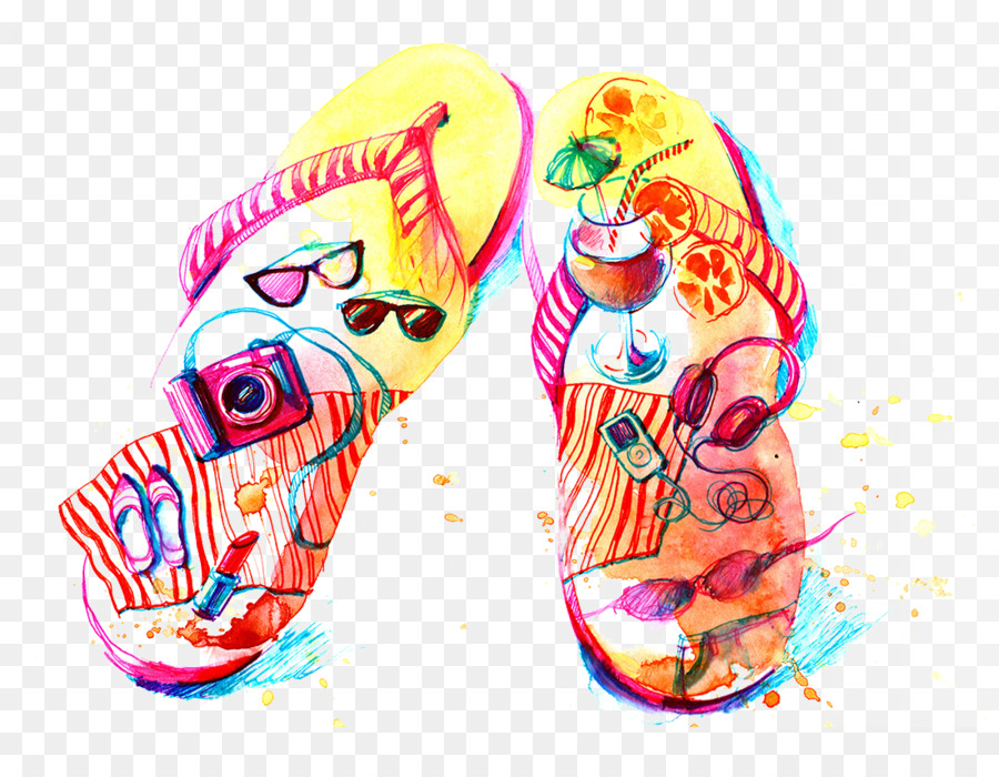 900x700 Flip Flops Watercolor Painting Drawing Illustration