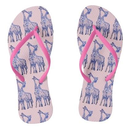 422x422 Giraffes Kiss Drawing Custom Adult Slim Straps Flip Flops