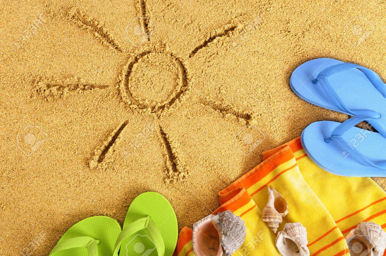 1300x863 Summer Beach Sun Sand Drawing, Flip Flops Stock Photo, Picture
