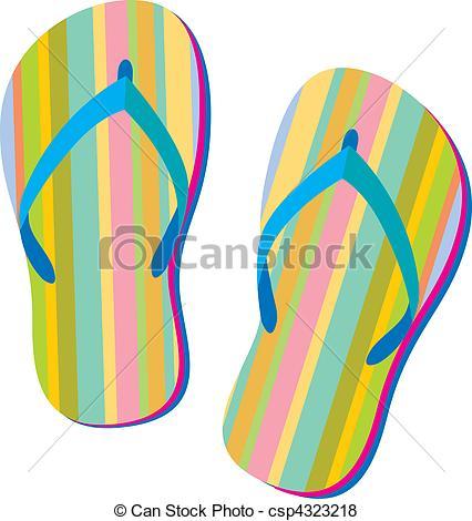 426x470 Summer Sandals. Summer Retro Flip Flops In Vector Vector