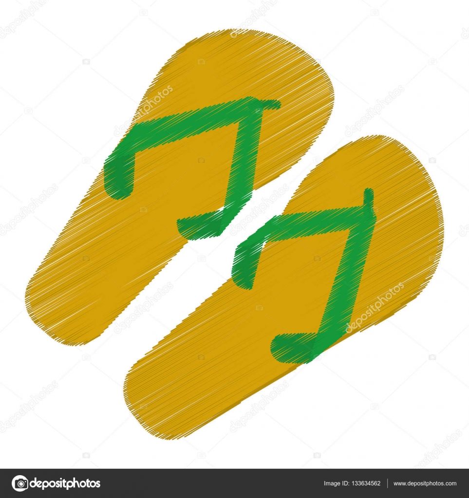 963x1024 Drawing Green And Yellow Flip Flop Brasilian Stock Vector