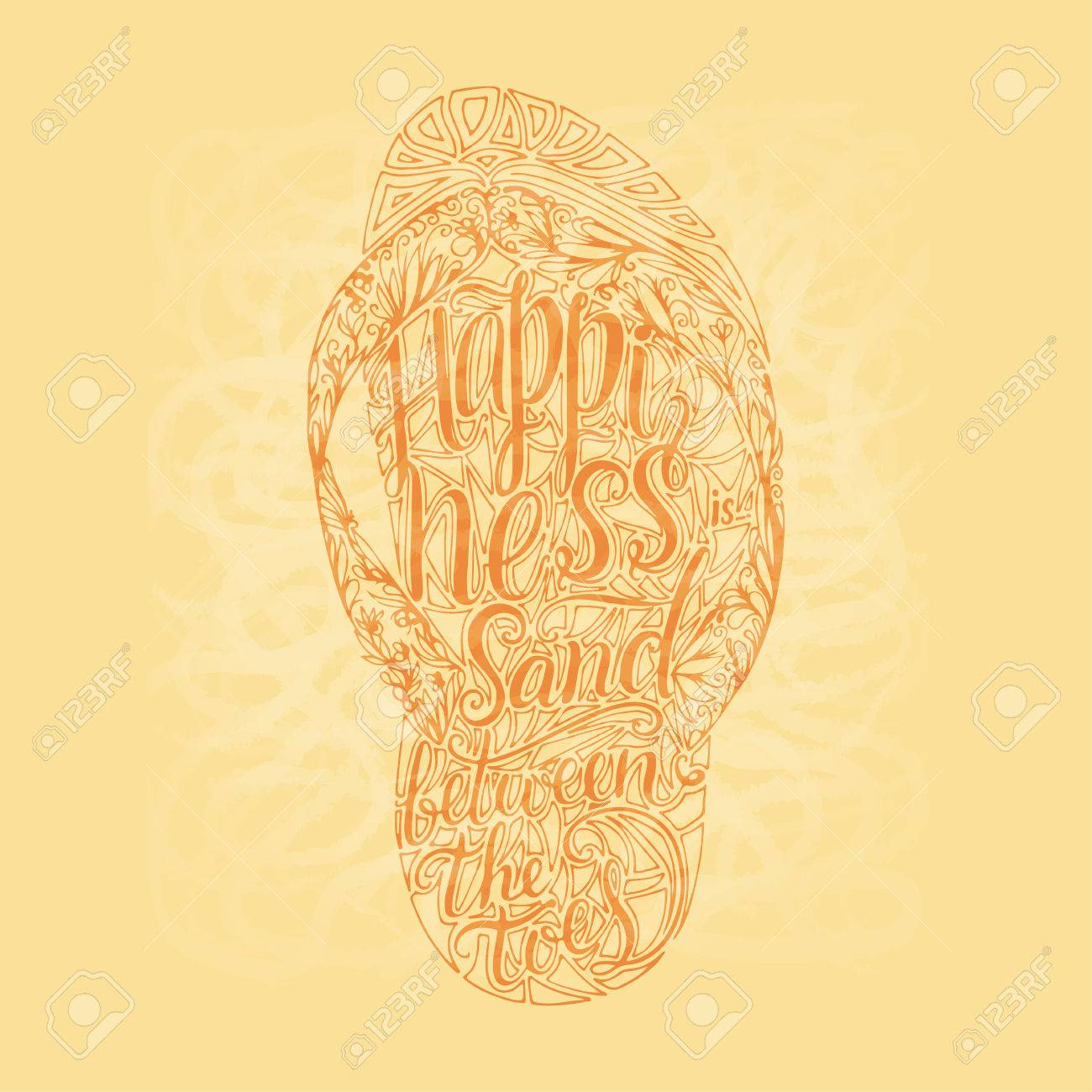 1300x1300 Hipster Hand Drawn Flip Flop With Inscription. Lettering Quote