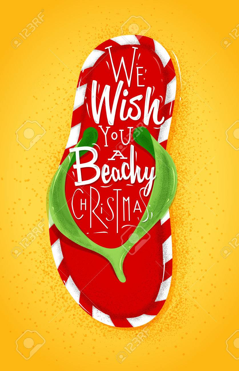 837x1300 Poster Christmas Flip Flop Lettering We Wish You A Beachy