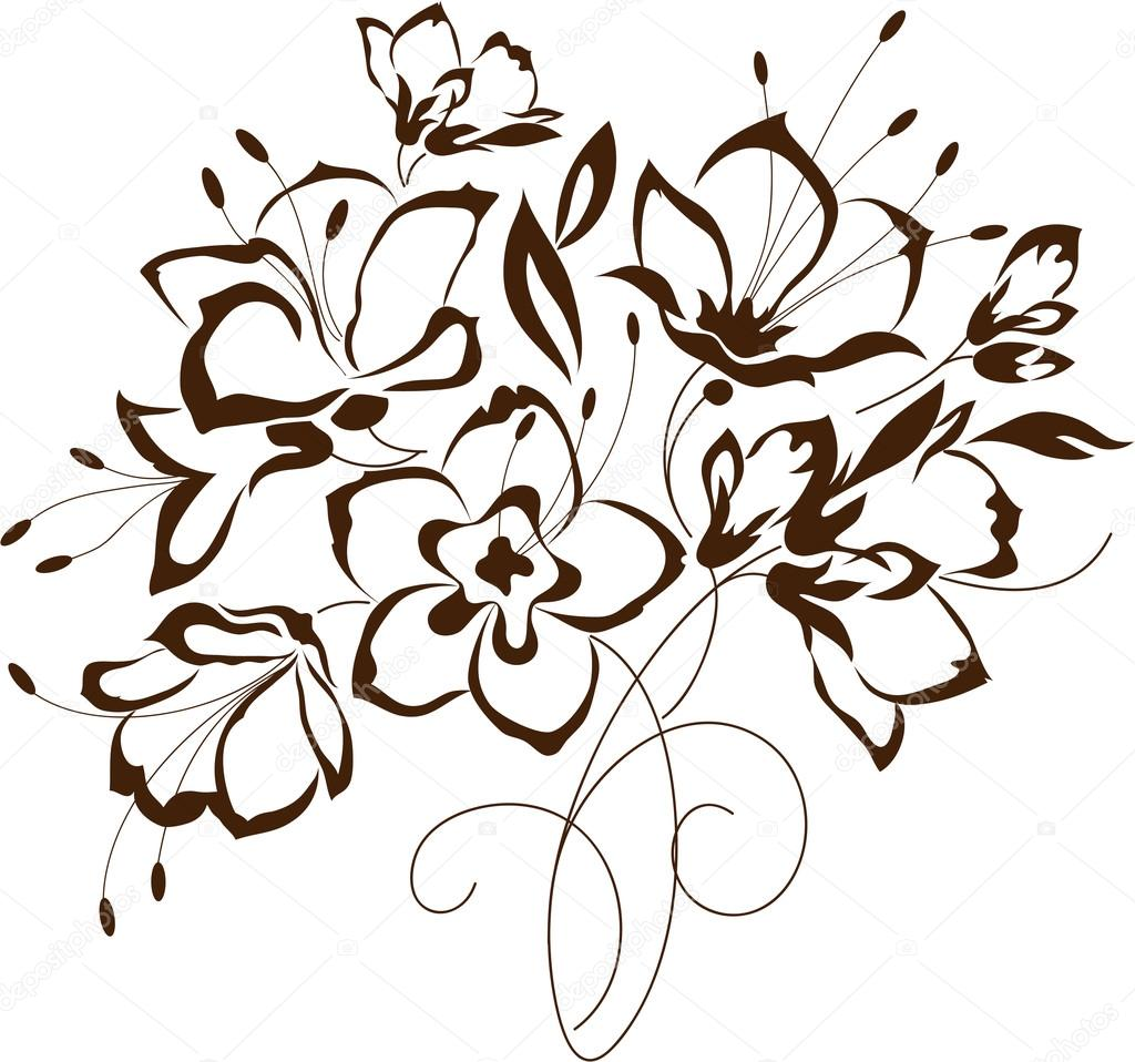 1024x958 Floral Design, Bouquet Of Stylized Flowers Stock Vector
