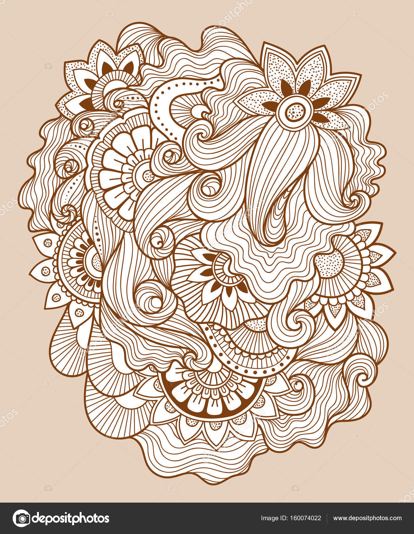 1320x1700 Beautiful Doodle Art Floral Composition. Henna Tattoo Flower