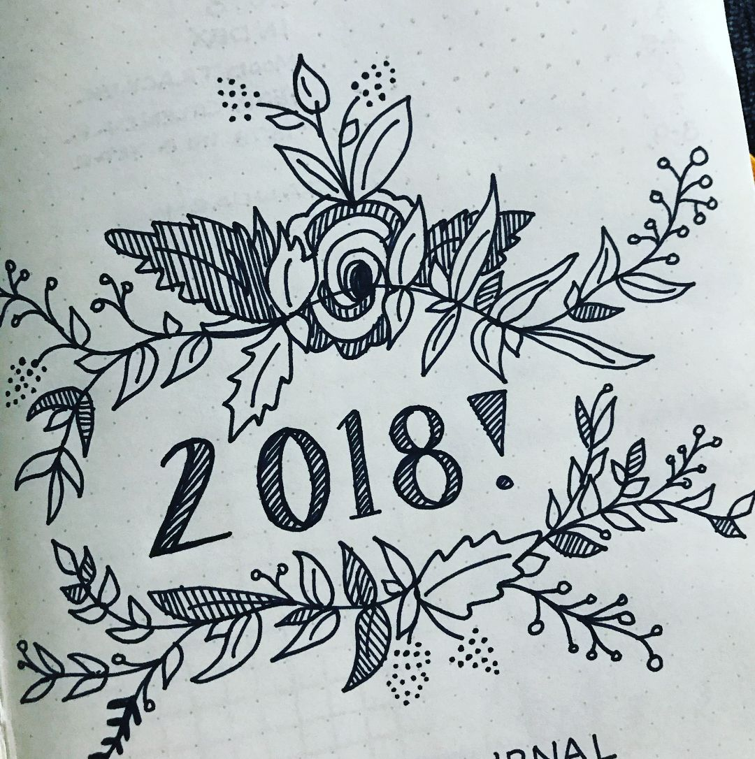 1080x1086 Bullet Journal Yearly Cover Page, Flower Drawings, Floral Drawings