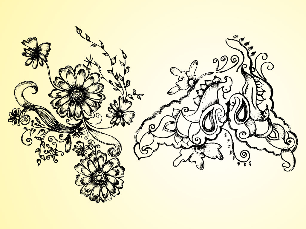 1024x768 Nature Floral Drawing