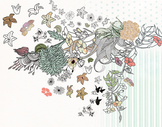 570x446 Original Flower Bouquet Ink Drawing Floral Drawing