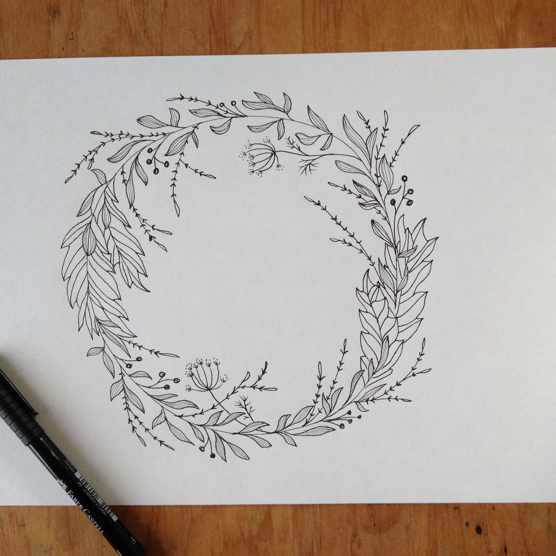 2448x2448 Wreath Drawing. Pen Amp Ink Flowers