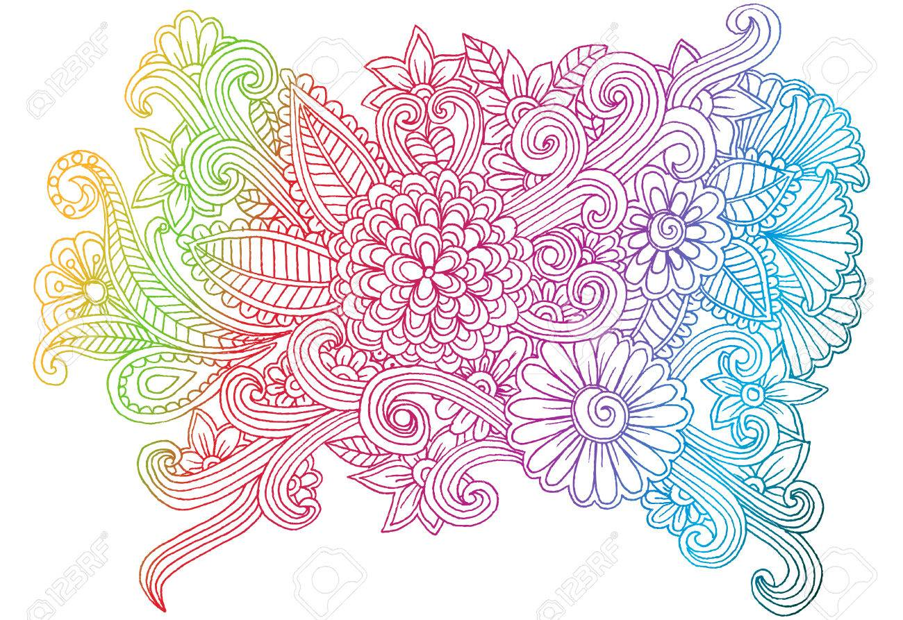 1300x893 Doodle Flowers. Line Art Hand Drawing Floral Pattern Royalty Free