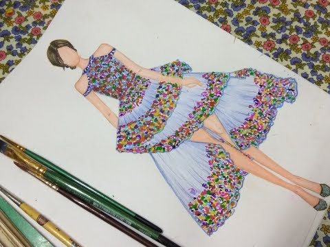 480x360 How To Sketch Floral Print Dress