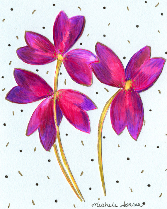 570x712 Oxalis Flower Art Print Purple Flower 3d Drawing Giclee