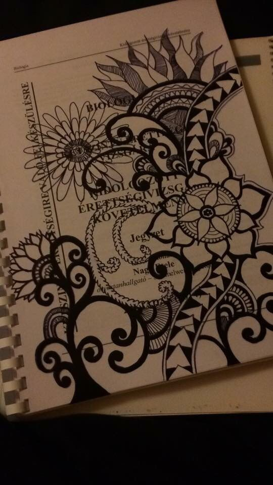 540x960 Study Hard. Notebook Decor. Floral Print Drawing. Drawings