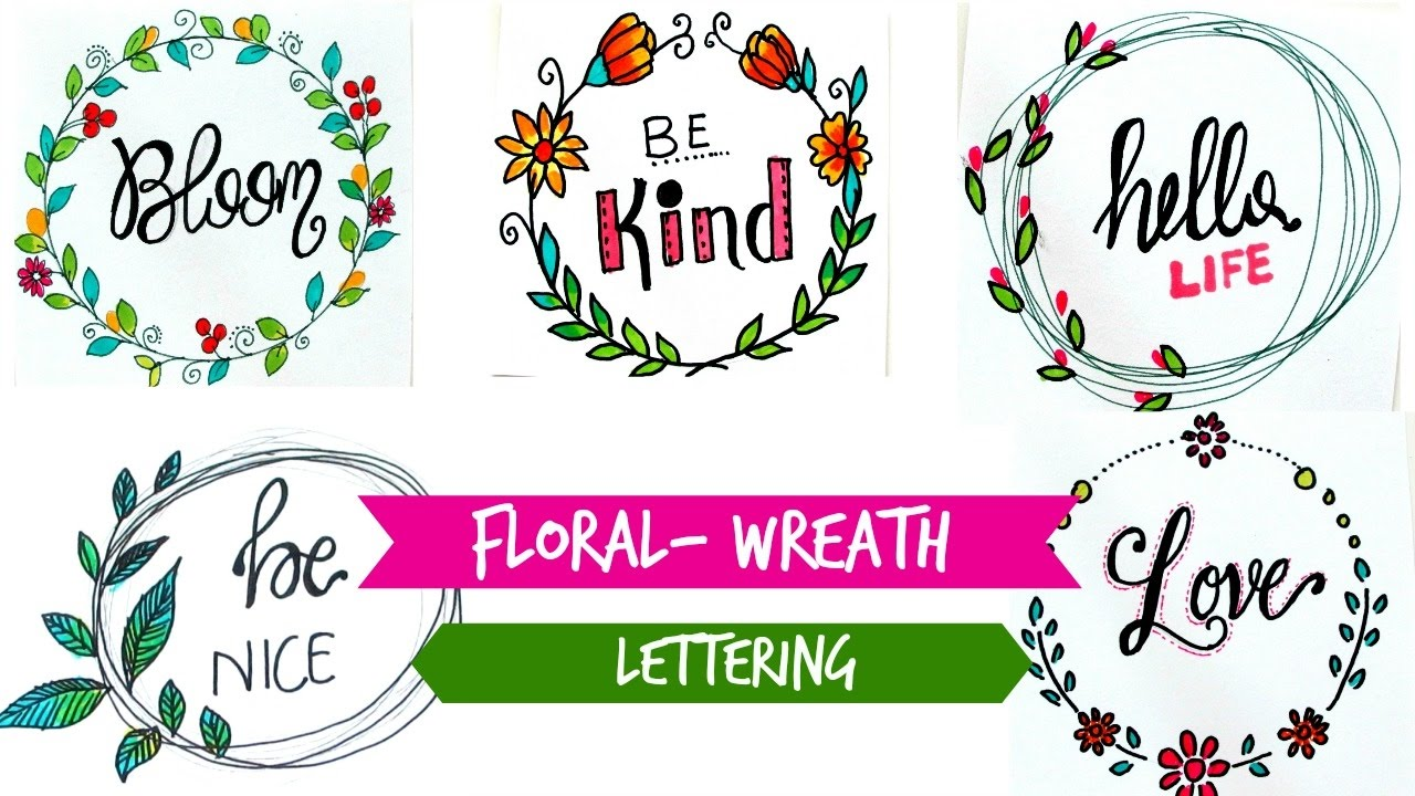 1280x720 Draw Floral Wreath + Lettering