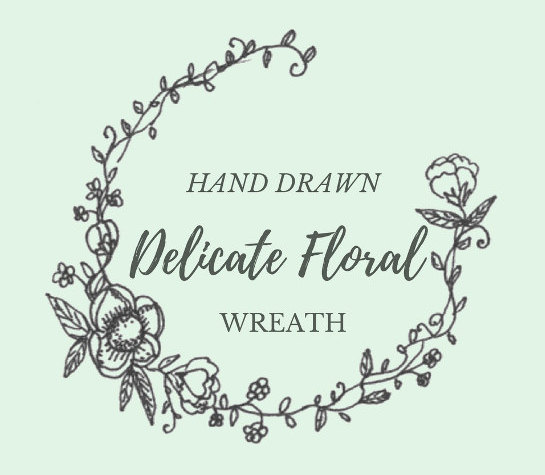 545x475 Hand Drawn Delicate Floral Wreath Line Drawing Flowers