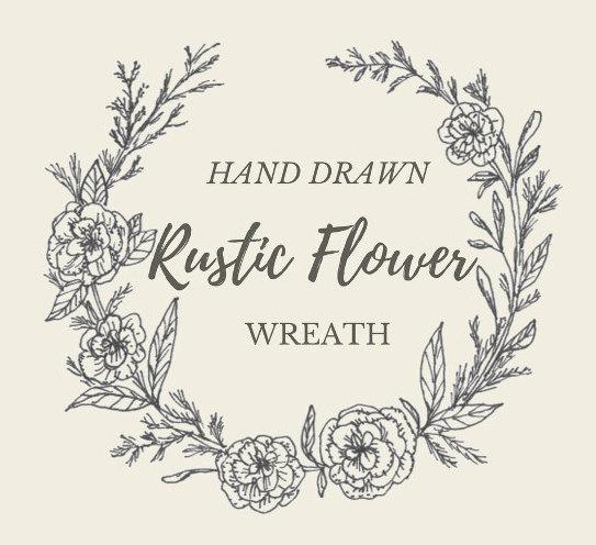 543x496 Hand Drawn Rustic Flower Wreath Line Drawing Flowers