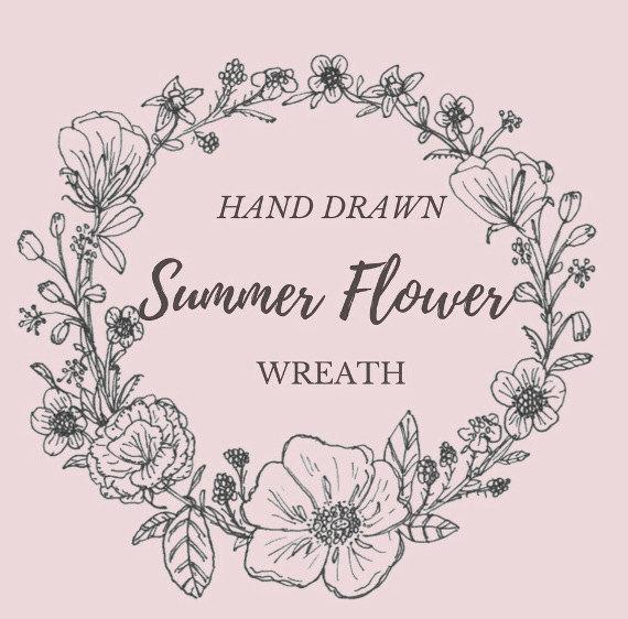 570x562 Hand Drawn Summer Flower Wreath Line Drawing Flowers