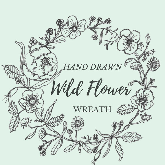 570x570 Hand Drawn Wild Flower Wreath Line Drawing Flowers Plants