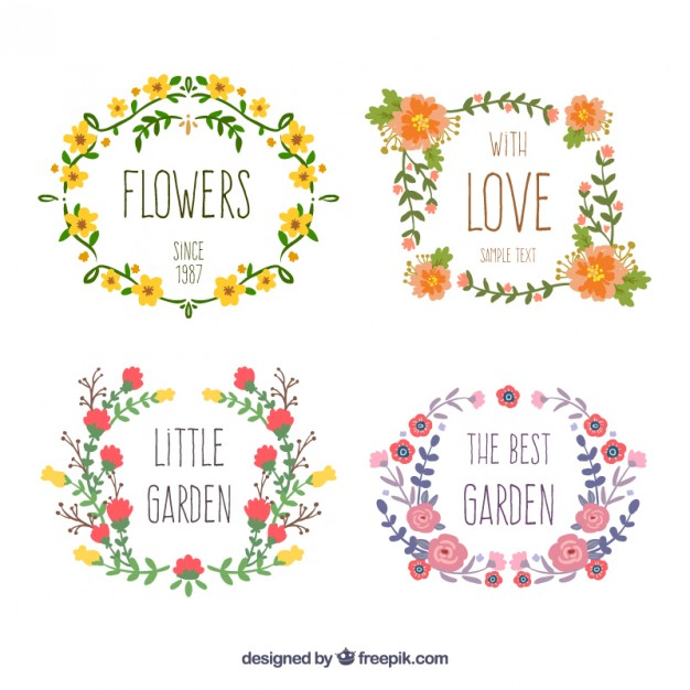 626x626 Hand Drawn Floral Wreaths Vector Free Download