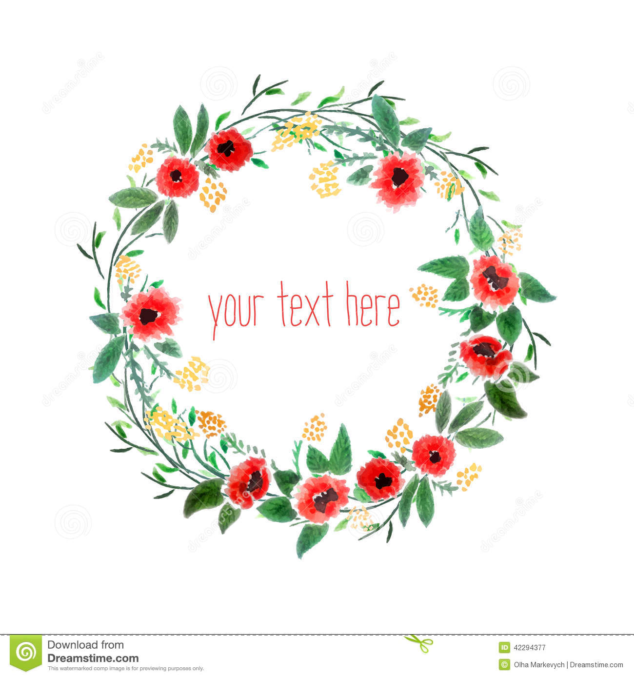 1300x1390 Watercolor Wreath With Flowers Stock Vector