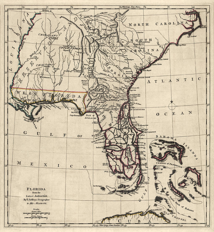 830x900 Antique Map Of Florida And The Southeast By Thomas Jefferys