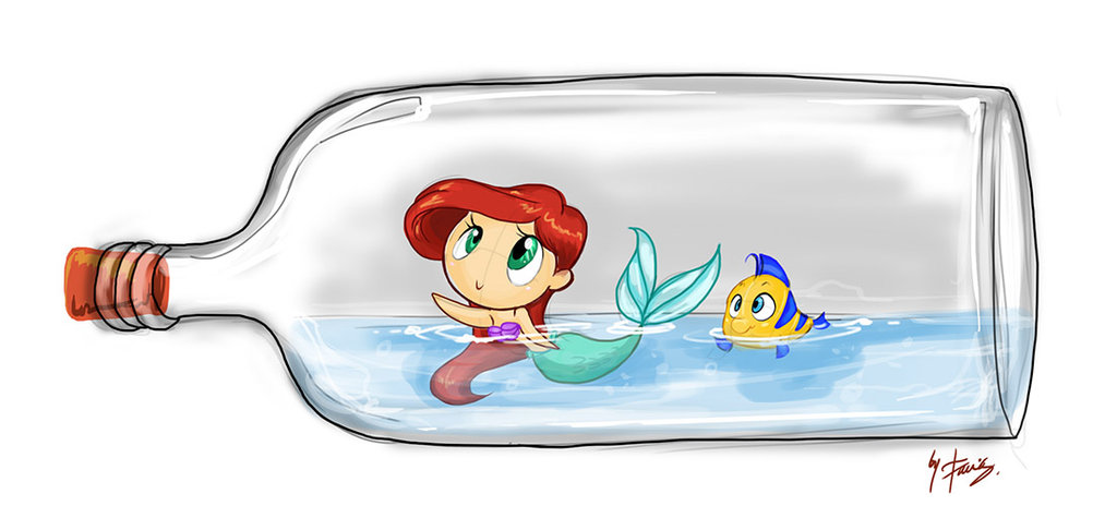 1024x486 Ariel And Flounder In Bottle By Favius