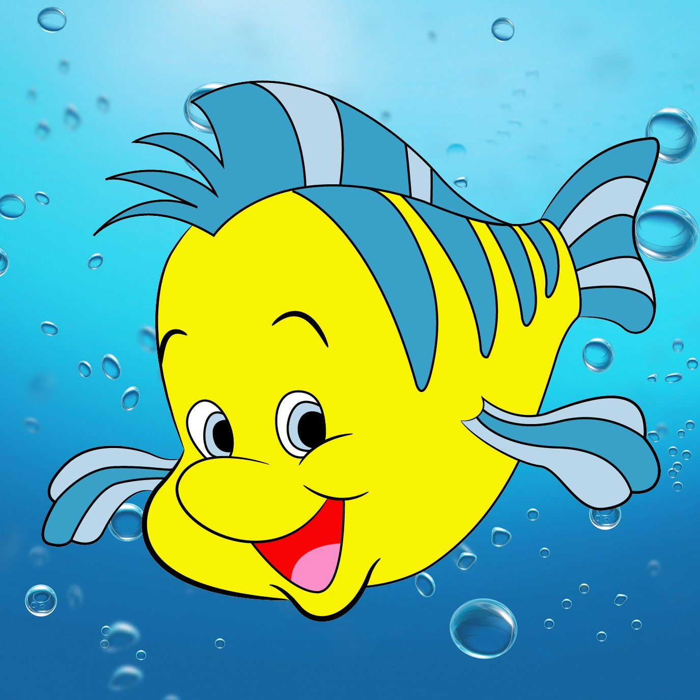 1375x1375 How To Draw Flounder From The Little Mermaid