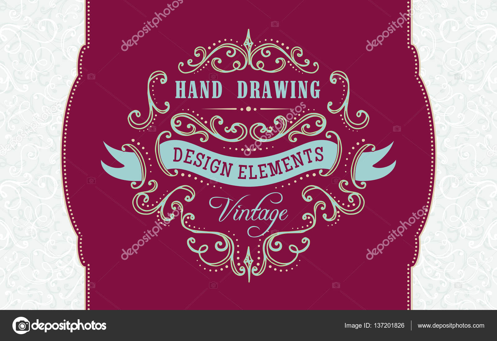 1600x1098 Hand Drawing Vintage Flourishes And Frames. Stock Vector