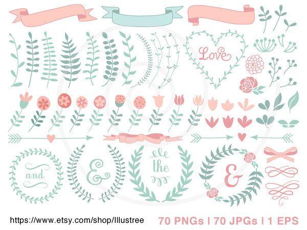 600x450 70 Flower Digital Clipart, Wedding Clip Art, Hand Drawn Laurel
