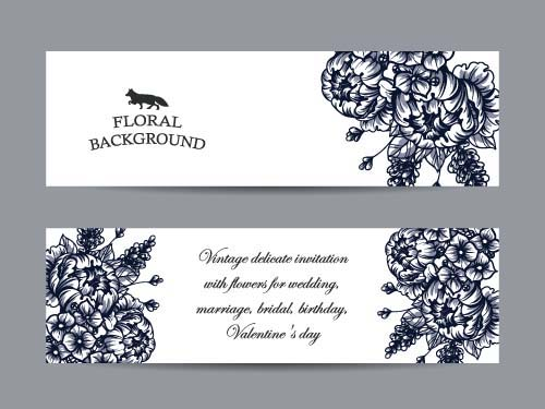 500x375 Flower Banners Hand Drawing Vector Design 04