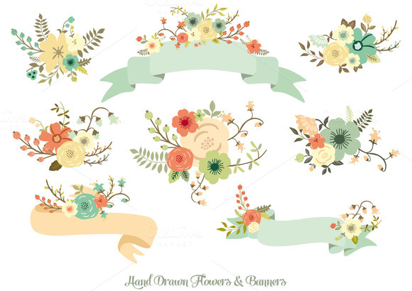 580x410 Hand Drawn Flowers Amp Banners Banners, Creative And Flower