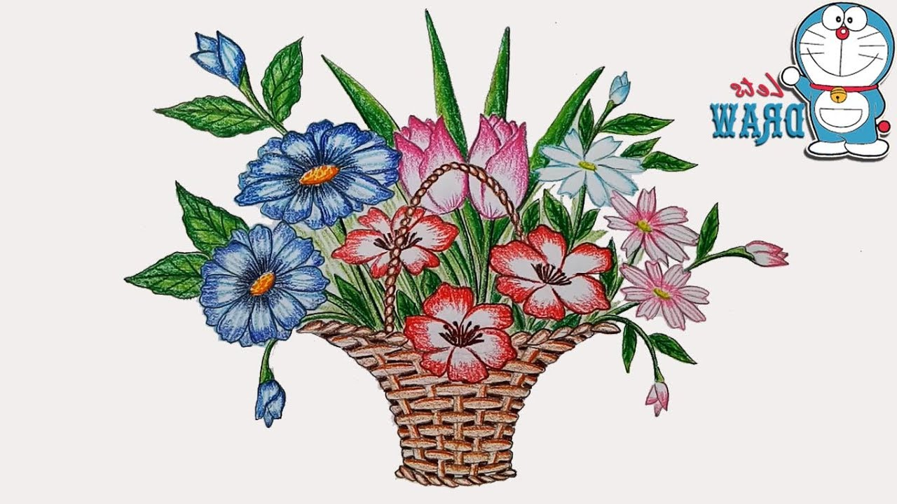 Easy flower basket drawing flowers healthy how to draw easy simple and beautiful flower basket rangoli designs izmirmasajfo
