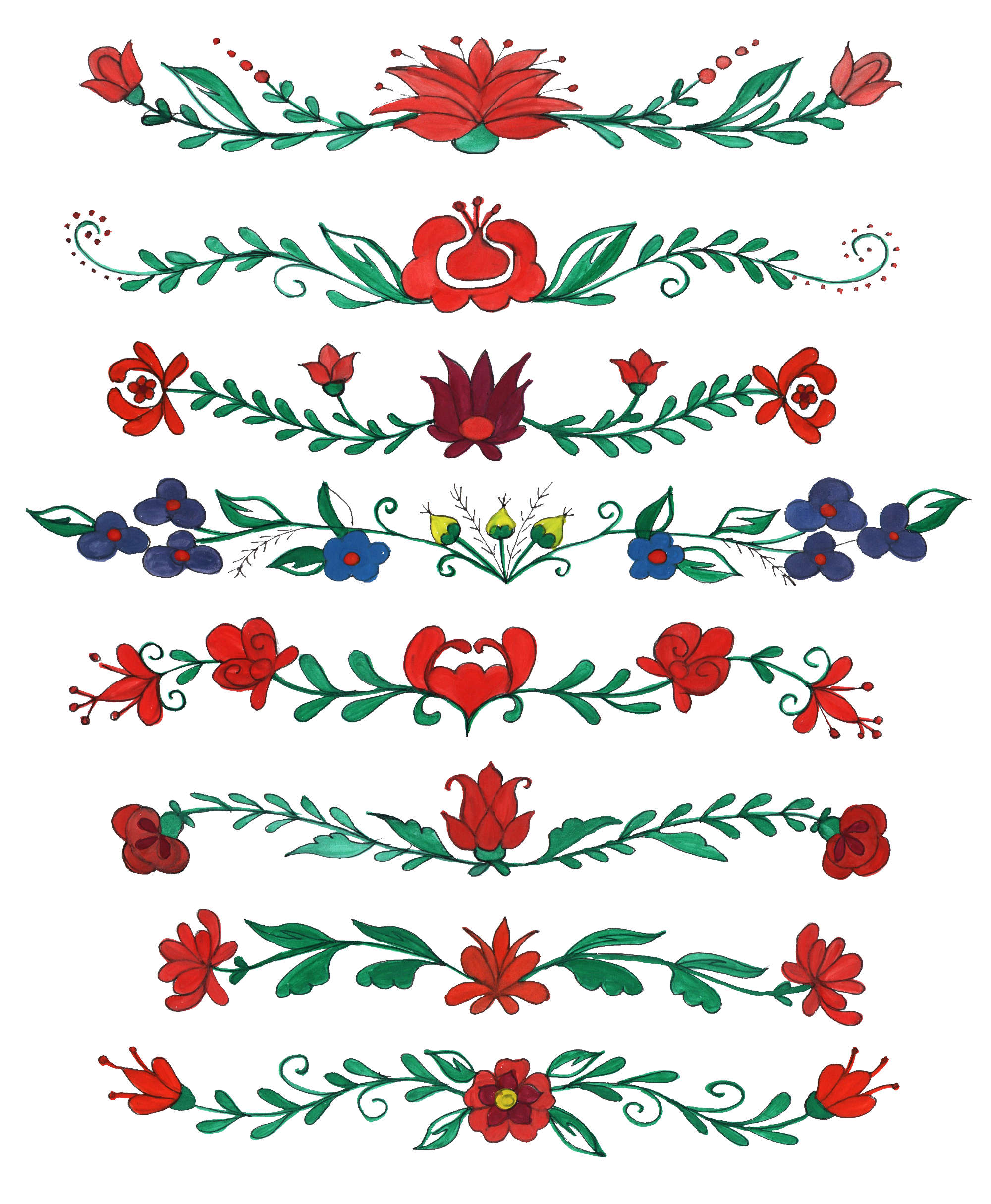 2000x2431 8 Flower Border Drawing PNG Transparent