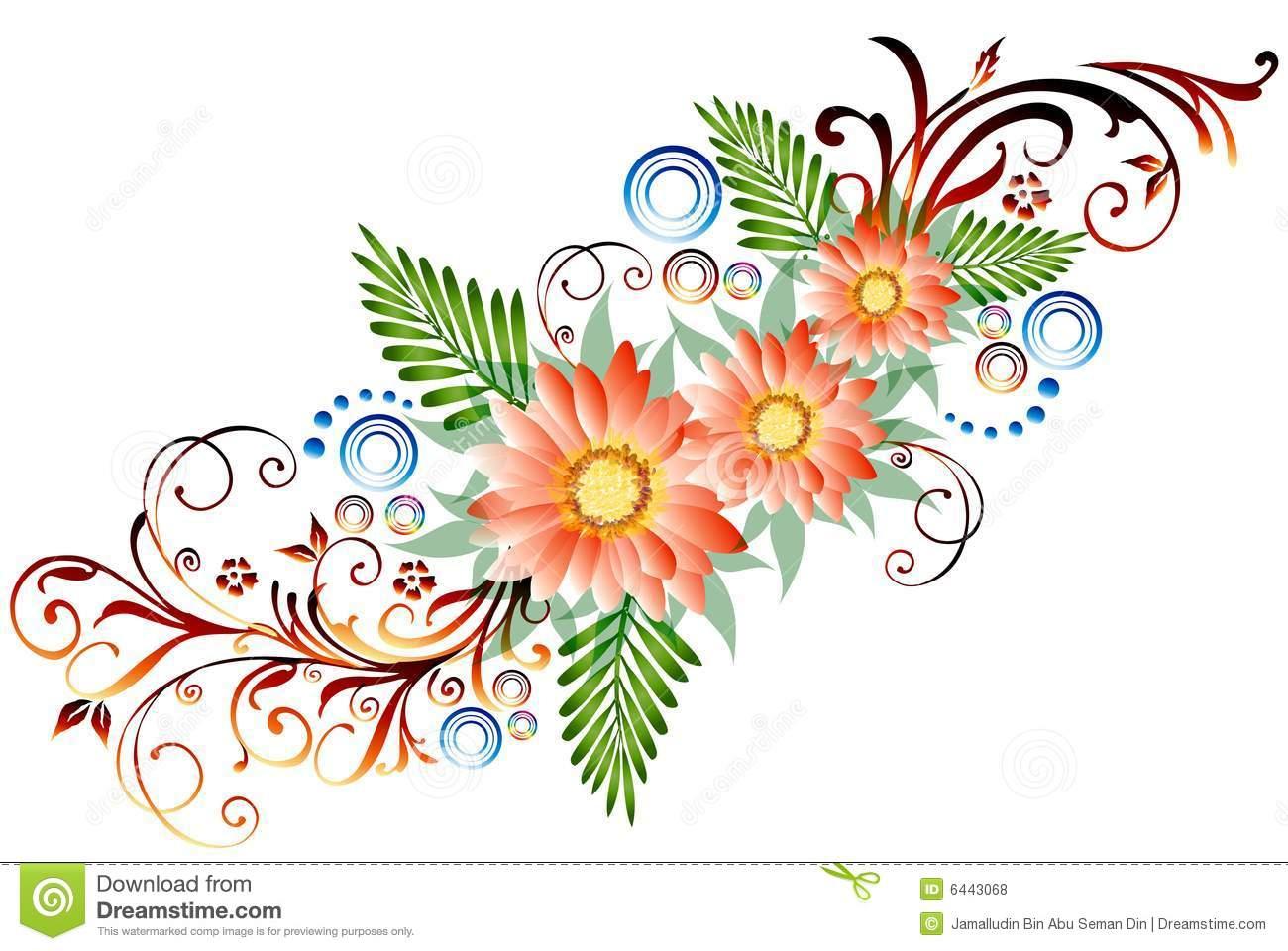 1300x960 Flower Border Drawing Floral Border Stock Illustration. Image