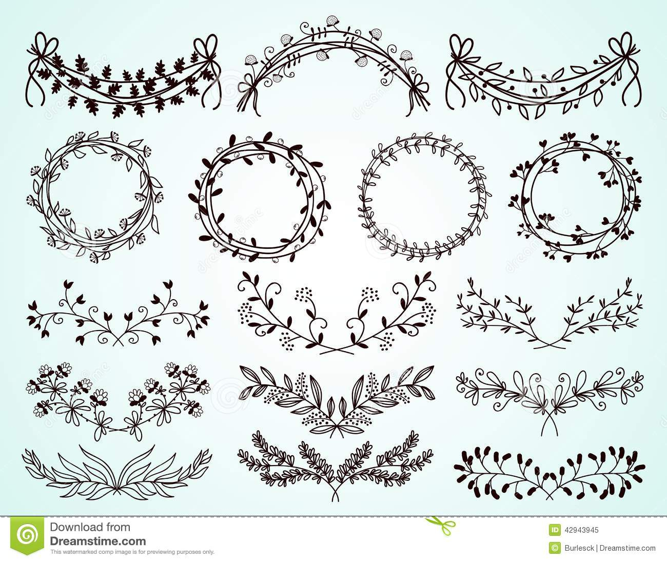 1300x1095 Flower Border Drawing Set Of Hand Drawn Floral Borders And Wreaths