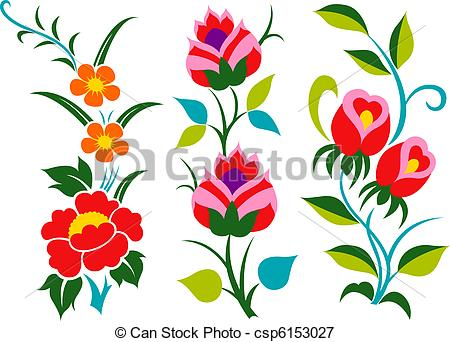 450x342 Flower Border Graphic Set Stock Illustrations