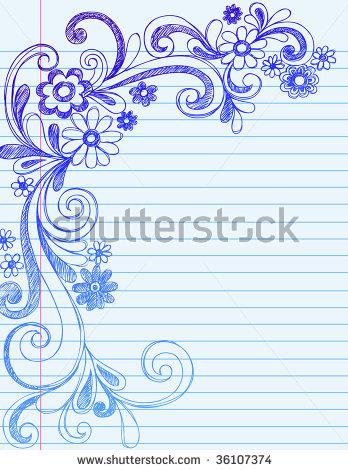 348x470 Hand Drawn Flower Border Card Ideas Hand Drawn