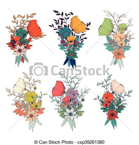 450x470 Hand Drawn Flower Bouquets, For Wedding Invitations And Vector