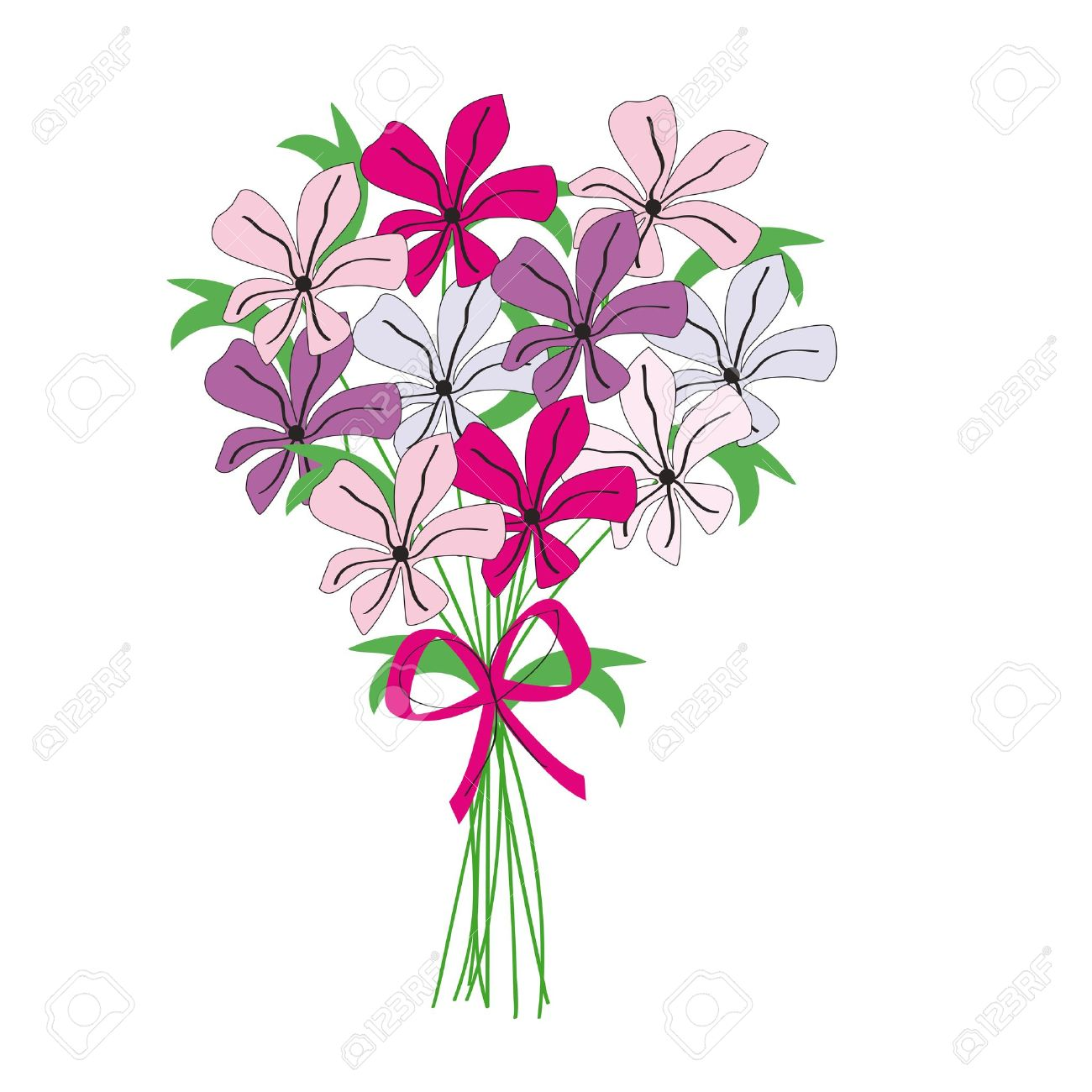 Flower bunch drawing at getdrawings free for personal use 1300x1300 drawing bunch of color flowers royalty free cliparts vectors and izmirmasajfo