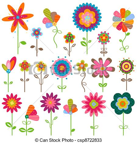 450x470 Retro Flowers. Retro Fantasy Flowers Set Vectors