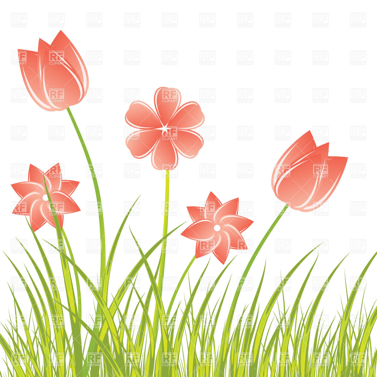 1200x1200 Stylized Hand Drawn Flowers In The Fresh Grass Royalty Free Vector