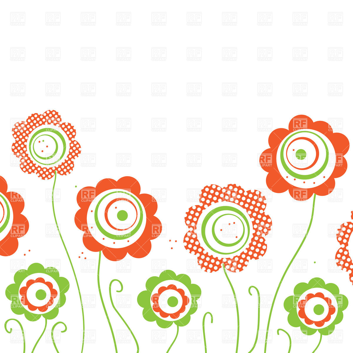 1200x1200 Stylized Round Hand Drawn Flowers Royalty Free Vector Clip Art