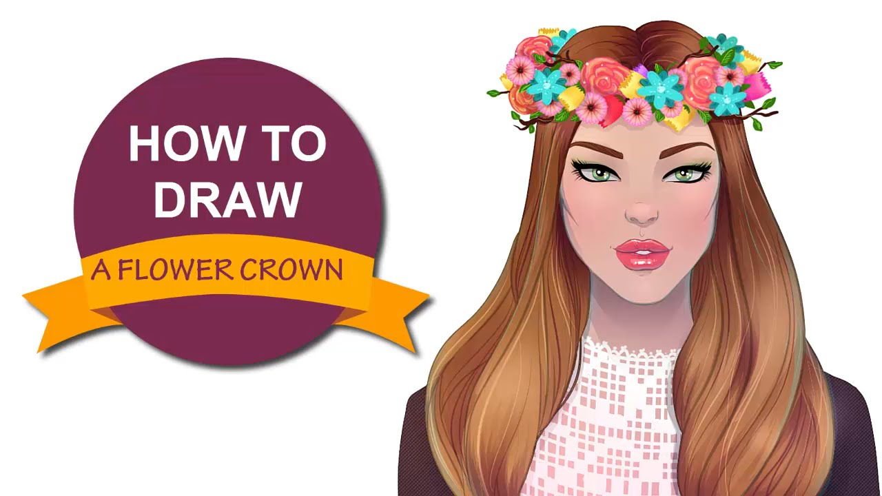 Flower crown drawing at getdrawings free for personal use 1280x720 how to draw a flower crown i draw fashion izmirmasajfo