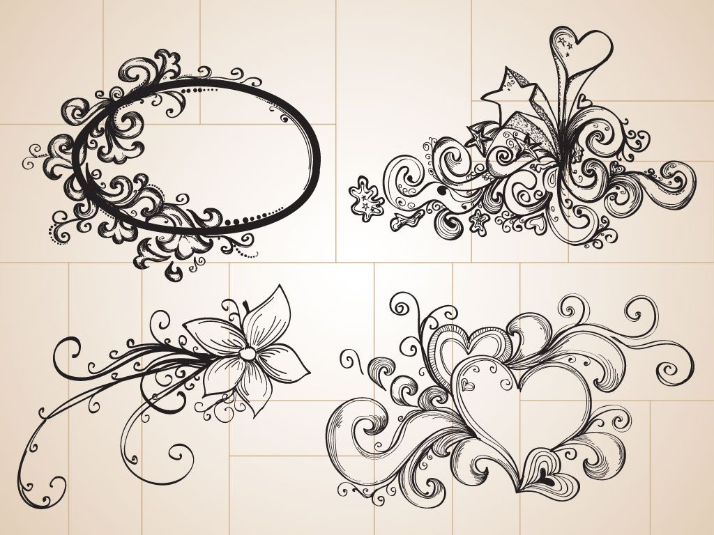 1024x768 Doodle Drawings These Cool Hand Drawn Decorative Ornaments Use