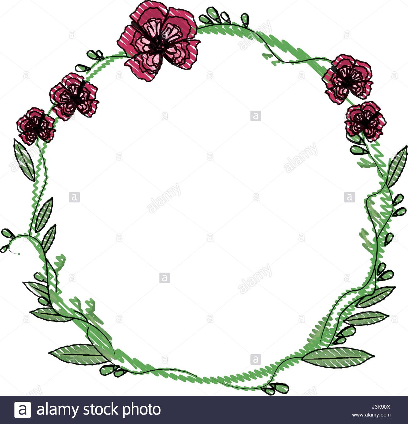 1300x1353 Drawing Floral Wreath Flowers Decoration Stock Vector Art